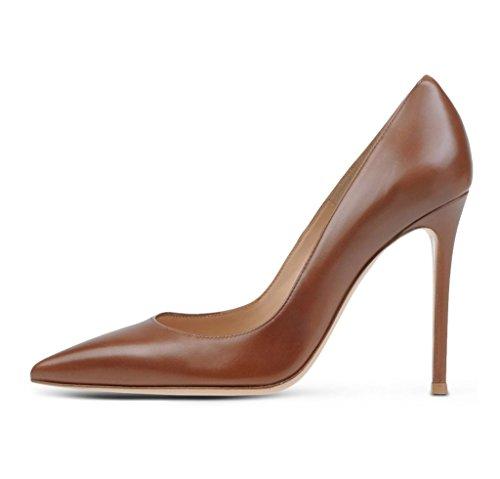 Talons Grande Aiguille Fete EDEFS Femme Hauts Pointu Chaussures à PU Bout Escarpins Soiree Café Cuir Vernis Taille xAn6UX