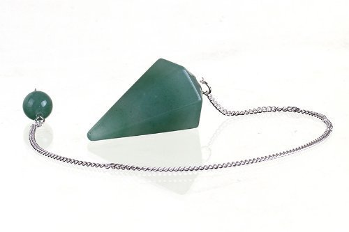 Kripanidhi Crafts Natural Green Aventurine Pendulum 6 Faceted Gemstone Dowsing Pendulum Chain Attached Reiki Crystal Healing