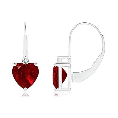 Angara July Birthstone Earrings in Yellow Gold - Drop Ruby Earrings O4HvrMmYS