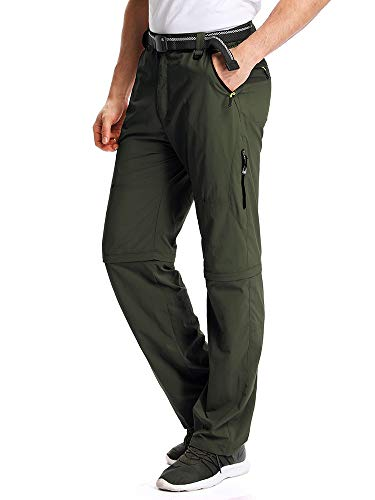 New Mens Big Boys Pants - Mens Hiking Pants Adventure Quick Dry Convertible Lightweight Zip Off Fishing Travel Mountain Trousers #M1111/Army Green/US 32
