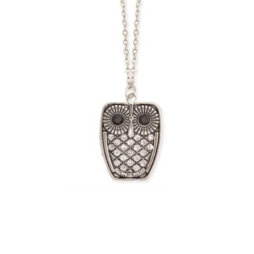 ZAD Small Crystal Covered Owl Charm Necklace Antique Silver Tone Chain