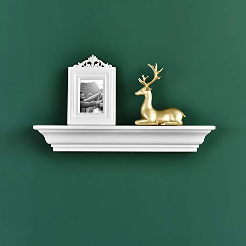 WELLAND Jefferson Crown Molding Floating Wall Photo Ledge Shelves Fireplace Mantel Shelf (24-Inch, White)
