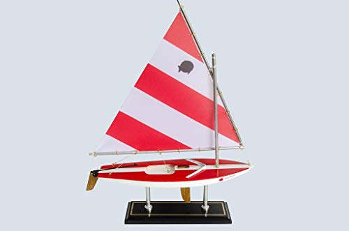 (LK Scale Models Wooden Classic Red & White Sunfish Model Sailboat Decoration 16