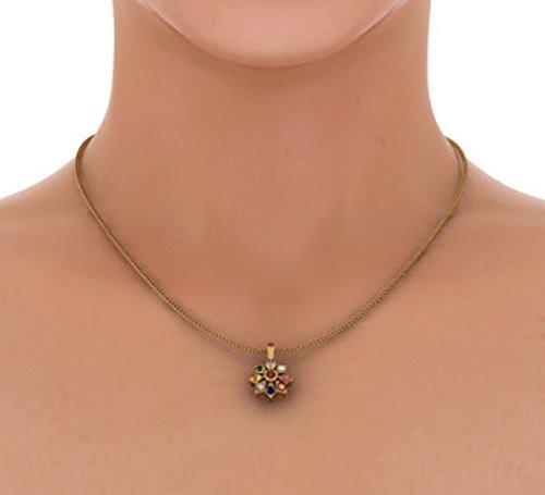 Or jaune 14K 0,07ct tw Round-cut-diamond (IJ   SI) et rubis et Navaratna Pendentif