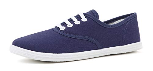 (VenusCelia Women's Rainbow Canvas Sneaker (9 M US, Navy))
