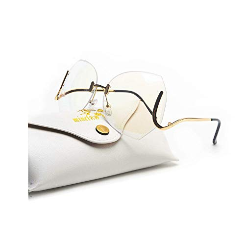 MINCL/unique Design Rimless Sunglasses Clear and Color With Box (gold, clear)