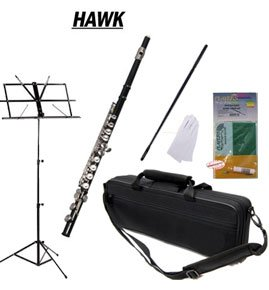 Hawk Black Closed Hole C Flute School Package with Case Music Stand and Cleaning Kit WD-F113-BK-PACK