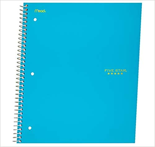 1 Subject 11 x 8-1//2 100 Sheets - 1 Five Star Spiral Notebook Teal 06190AA4 Graph Ruled Paper