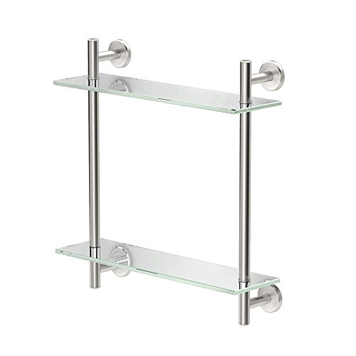 Gatco 1392SN Latitude II 17'' L Two-Tier Glass Shelf, Satin Nickel by Gatco (Image #5)