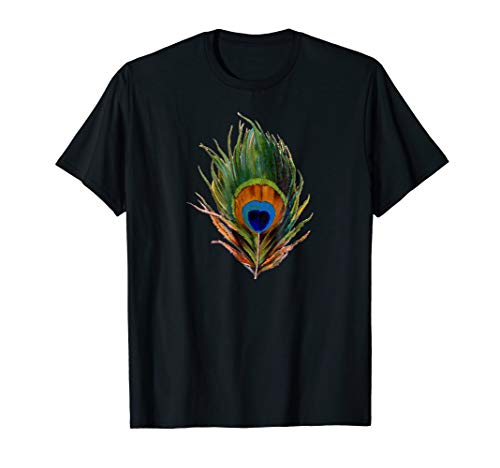 Vintage Peacock Feather Print T Shirt