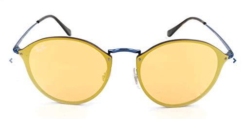 Ray-Ban RB3574N Blaze Round Sunglasses, Blue/Dark Orange Mirror, 59 mm (Ray Ban Orange Mirror Aviator)