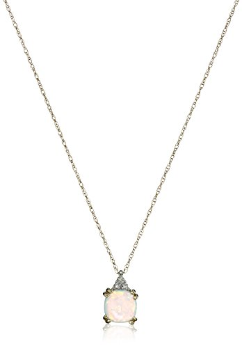 """10k Yellow Gold, October Birthstone, Simulated Opal and Diamond Pendant, 18"""""""