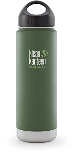 Wide Loop Cap - Klean Kanteen Wide Mouth Insulated Water Bottle with Loop Cap - 20 Ounce Vineyard Green