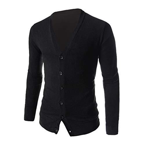 slim Cardigan nero misto con classico outwear maglione scollo V cardigan uomo cotone a fit lunga leggero manica misto grn4xTrqwI