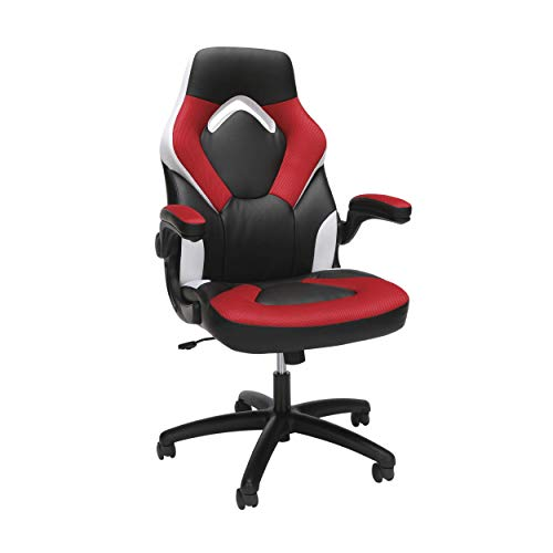 OFM Essentials Collection Racing Style Bonded Leather Gaming Chair, in Red/White (ESS-3085-RED-WHT) (Renewed)