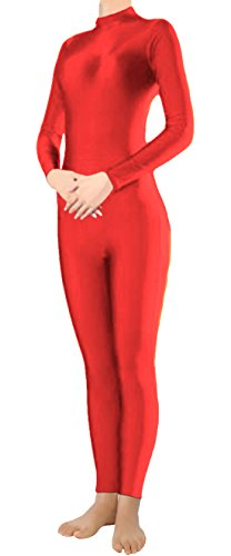 Marvoll Lycra Long Sleeve Unitard Bodysuit Dancewear for Kids and Adults (XX-Large, Red) (Body Suit Costume)
