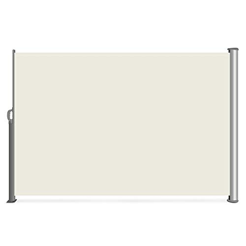 Belleze Retractable Side Awning Patio Waterproof Sun Shade Screen Divider w/Handle (9.8 x 5.2ft), Beige ()
