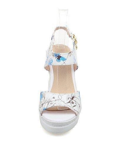 ShangYi Womens Shoes Leatherette Wedge Heel Wedges / Peep Toe Sandals Casual Black / Blue / Green / Red Black
