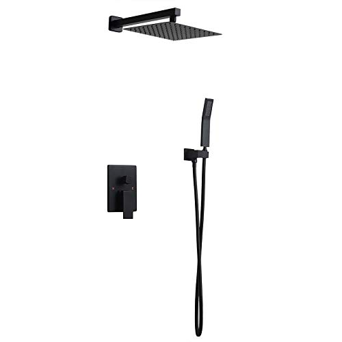 Homary Matte Black Wall Mounted Rain Shower Set 10