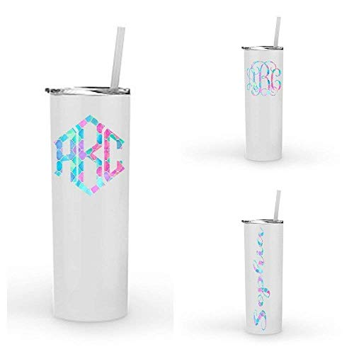 Monogrammed Stainless Steel Tumbler w/Mermaid Inspired Vinyl Decal / 20oz Skinny White Powder Coated Tumbler/Personalized with Name, Word or ()