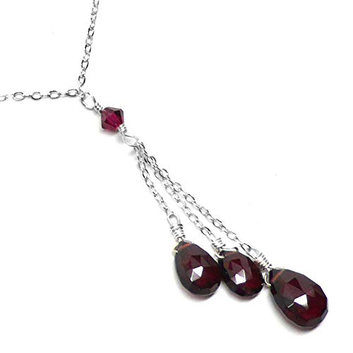 (Three Garnet Briolettes Dainty Y-Chain Necklace Sterling Silver 18 Inches)