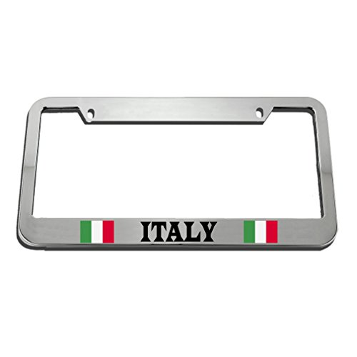 Speedy Pros Italy Italian Flag White License Plate Frame Tag Holder by Speedy Pros