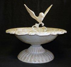 Bird in White Cast Iron Birdbath