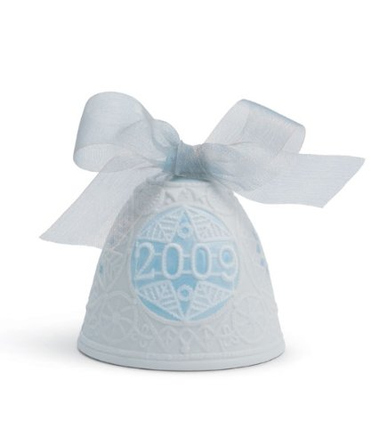 Lladro 2009 Christmas Bell, White with Blue Accent by Lladro