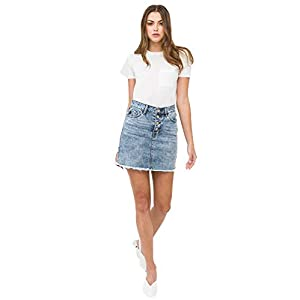 Kan Can Medium Wash Non Distress Button Fly Skirt with Frayed Hem