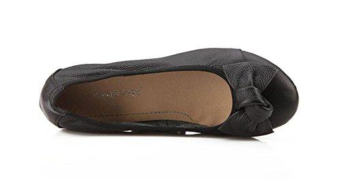 Chfso Elegante Para Mujer Slip Redondo Sólido En La Parte Superior Baja Del Arco Zapatos De Tacón Bajo Negro
