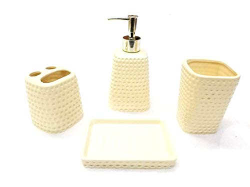Empire Home Space Modern 4-Piece Bathroom Accessory Ceramic Set - Lotion Dispenser/Tumbler / Toothbrush Holder/Soap Dish (Beige Dots)