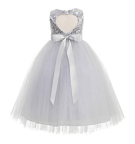 Heart Cutout Sequin Flower Girl Dress Girls Tulle Dresses Wedding Bridesmaid Dress 172seq 8 Silver]()