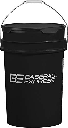 (Baseball Express Empty Ball Bucket with Padded Lid Black)