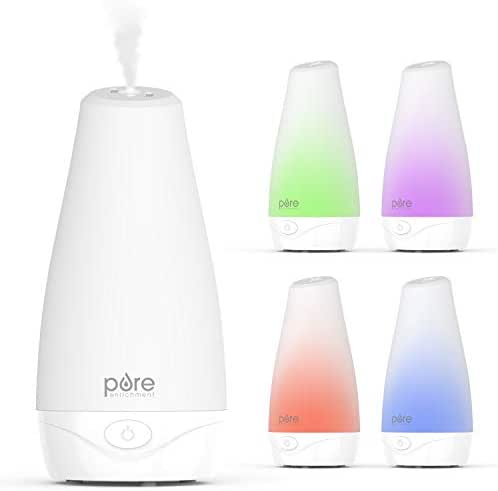 Pure Enrichment PureSpa Essential Oil Diffuser - Compact Air Deodorizer with 100ml Water Tank, Mood-Boosting Ionizer & Optional Color-Changing Light - Lasts Up to 7 Hours with Auto Safety Shut-Off