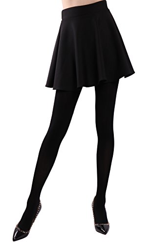 HeyUU Women's Semi Opaque Solid Color Soft Footed Pantyhose Tights 2 Pack (Soft Opaque Tights)