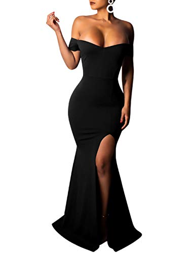 (PARTY LADY Women's Plus Size Off Shoulder Bodycon Long Evening Party Dress Gown Size L Black)