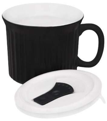 OKSLO Corningware 22 oz black pop ins mug large capacity stoneware perfect s ()