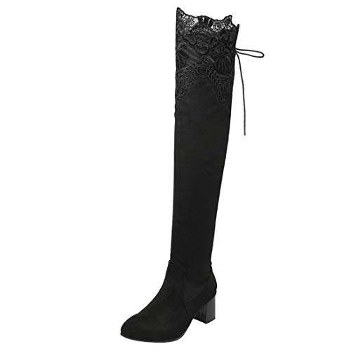 Boots Boots Warm up Thigh Women's Heel Long Elegant Mid Block Artfaerie Black Lace Lace High w1Ofp8wq