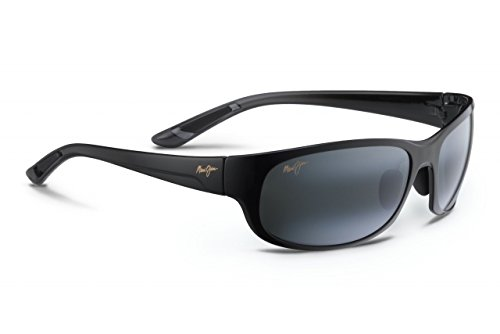 Maui Jim Mens Twin Falls 63 Sunglasses (417) Black Shiny/Grey Plastic,Nylon - Polarized - - Jimsunglasses Maui