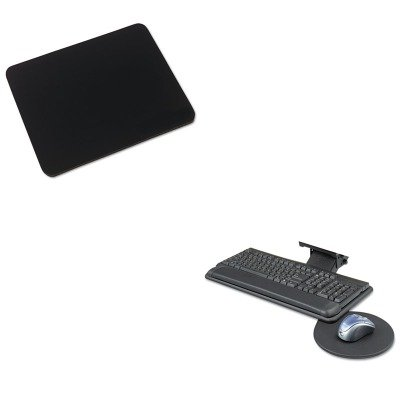 KITIVR52448SAF2135BL - Value Kit - Safco Adjustable Keyboard Platform with Mouse Tray (SAF2135BL) and Innovera Natural Rubber Mouse Pad (IVR52448) -