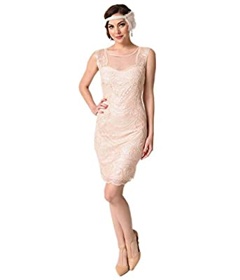 1920s Style Pink Cut Out Illusion Back Beaded Flapper Dress