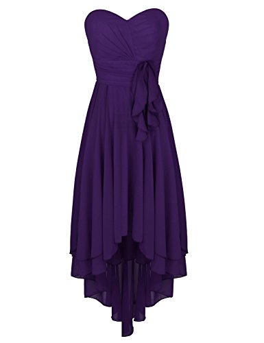 on Sweetheart Strapless High-Low Pleated Bridesmaid Dress Party Evening Prom Gown Purple 16 (Chiffon Prom Evening Gown)