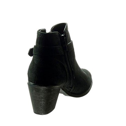 Angkorly - Zapatillas de Moda Botines low boots mujer Hebilla cremallera tanga Talón Tacón ancho 6.5 CM - Negro