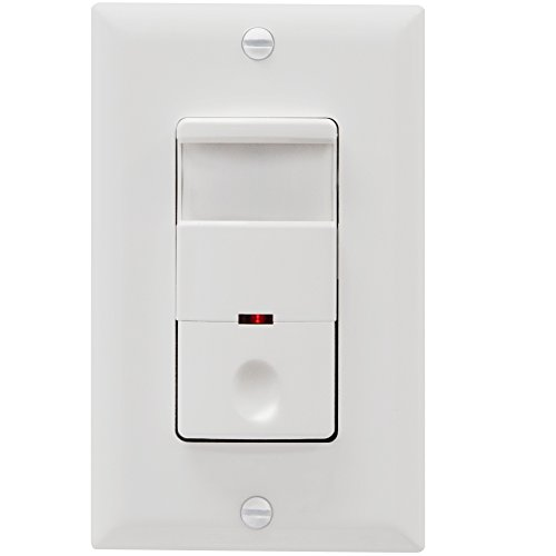 TOPGREENER Motion Sensor Light Switch, PIR Sensor Switch, Occupancy Sensor Light Switch, Motion Sensor Wall Switch, 500W 1/8HP, Neutral Wire Required, Single Pole, TDOS5, White Decora Motion Sensor Occupancy Switch