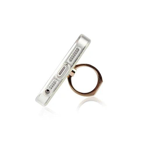 JIALUN-carcasa de telefono Caja de lujo del estilo de la chispa de Bling, cubierta suave trasera suave del brillo de TPU con el soporte de Fingerring para el iPhone 5 y 5s y SE ( Color : Pink ) White