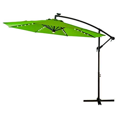 FLAME&SHADE 10' Offset Cantilever Hanging Umbrella with Solar LED Lights for Large Outdoor Patio Table Balcony or Jacuzzi, Apple -