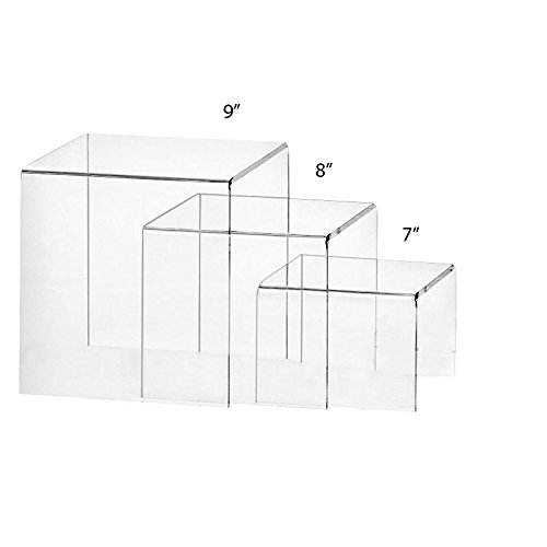 Set of 3 Premium Quality Clear Acrylic Display Stand Risers, 0.25 Inches Thick - 7, 8, 9 Inches