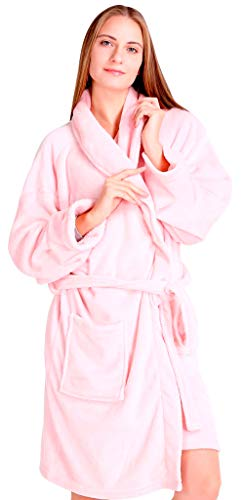 Pembrook Ladies Robe - Soft Fleece - Pink - Size S/M - Spa Bathrobe Women Girls