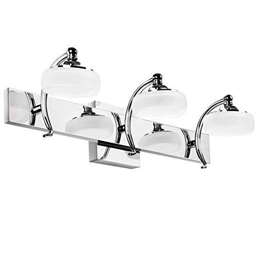 SUNVP 3-Light LED Bathroom Vanity Light Fixtures Over Mirror, Stainless Steel Wall -