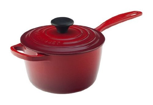 Le Creuset Signature Cast Iron Saucepan, 1-3/4-Quart, Cerise (Cherry Red)